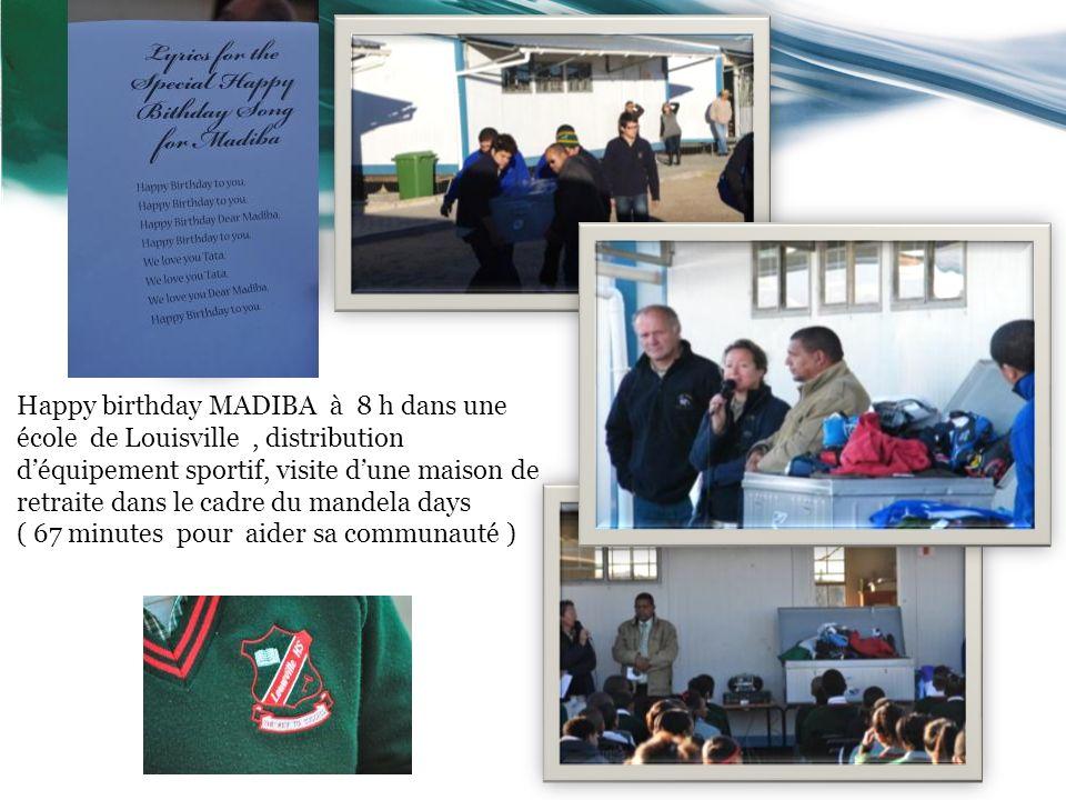 Happy birthday MADIBA à 8 h dans une école de Louisville, distribution déquipement sportif, visite dune maison de retraite dans le cadre du mandela da