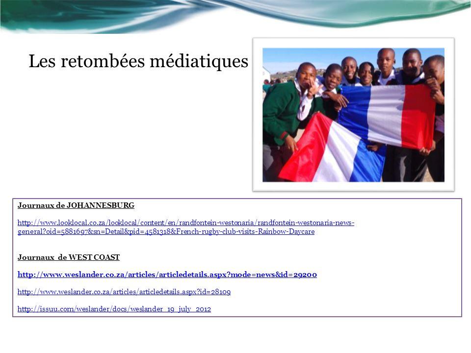 Les retombées médiatiques Journaux de JOHANNESBURG http://www.looklocal.co.za/looklocal/content/en/randfontein-westonaria/randfontein-westonaria-news-