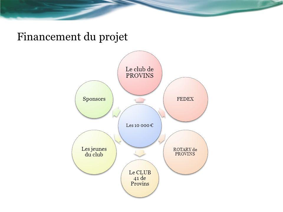 Financement du projet Les 10 000 Le club de PROVINS FEDEX ROTARY de PROVINS Le CLUB 41 de Provins Les jeunes du club Sponsors