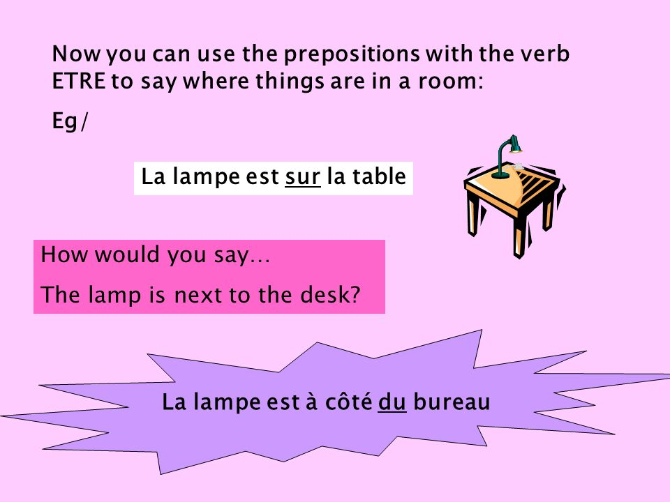 Now you can use the prepositions with the verb ETRE to say where things are in a room: Eg/ La lampe est sur la table How would you say… The lamp is next to the desk.