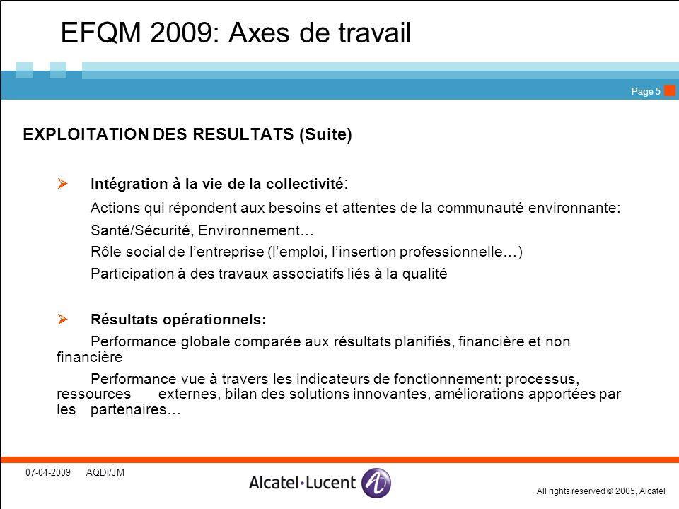 All rights reserved © 2005, Alcatel 07-04-2009 AQDI/JM Page 5 EFQM 2009: Axes de travail EXPLOITATION DES RESULTATS (Suite) Intégration à la vie de la
