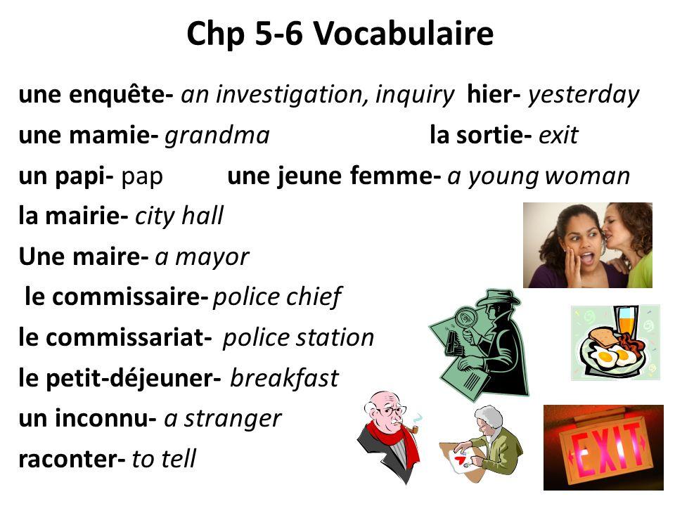 Chp 5-6 Vocabulaire une enquête- an investigation, inquiry hier- yesterday une mamie- grandma la sortie- exit un papi- pap une jeune femme- a young wo