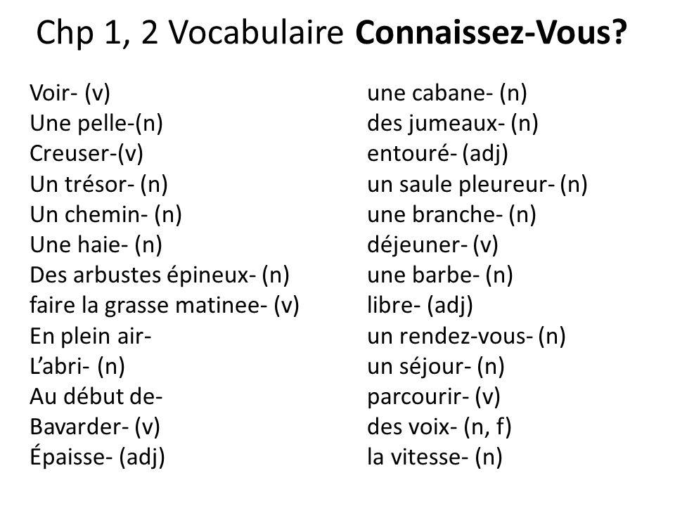 Chp 1, 2 Vocabulaire Connaissez-Vous? Voir- (v) une cabane- (n) Une pelle-(n)des jumeaux- (n) Creuser-(v)entouré- (adj) Un trésor- (n)un saule pleureu