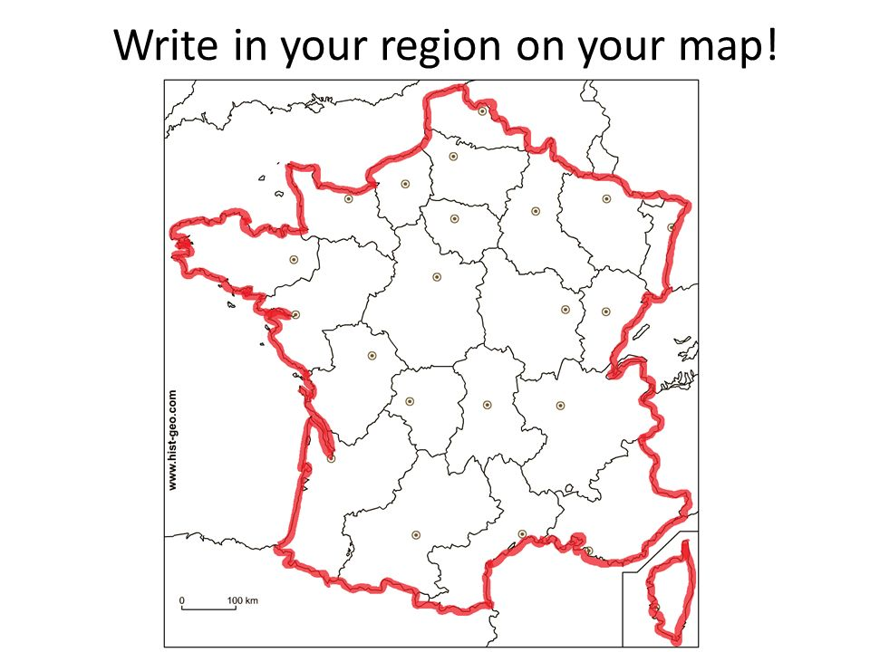 Write in your region on your map!