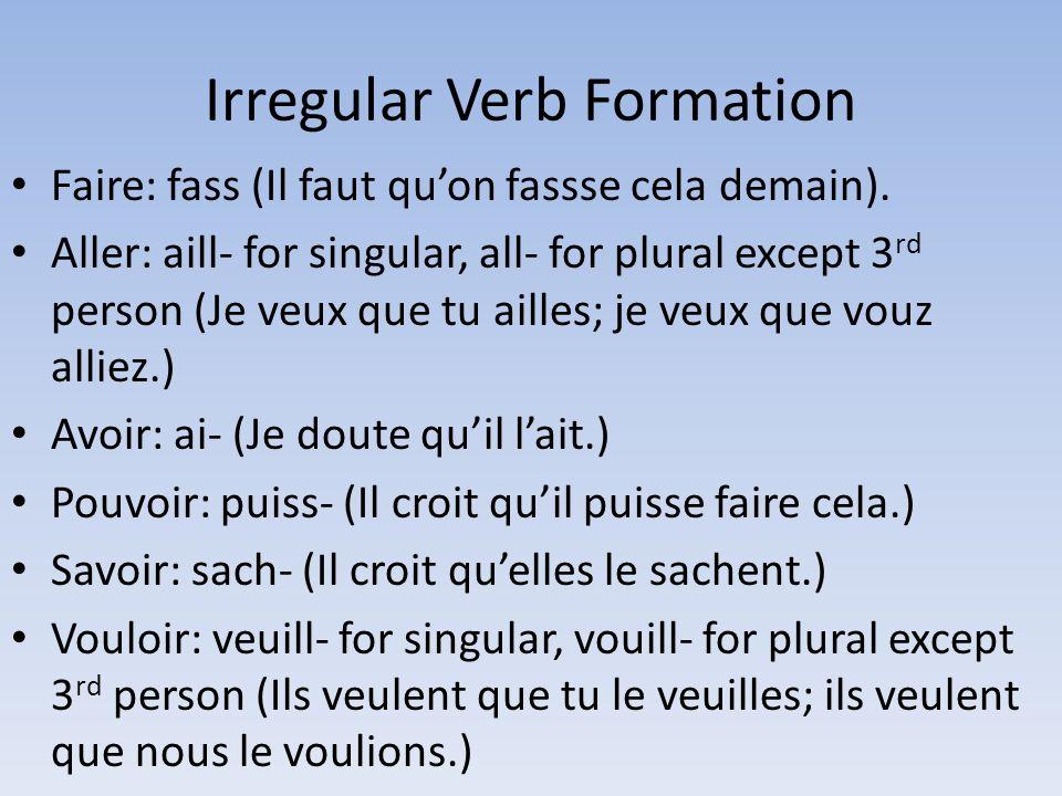 Irregular Verb Formation Faire: fass (Il faut quon fassse cela demain).