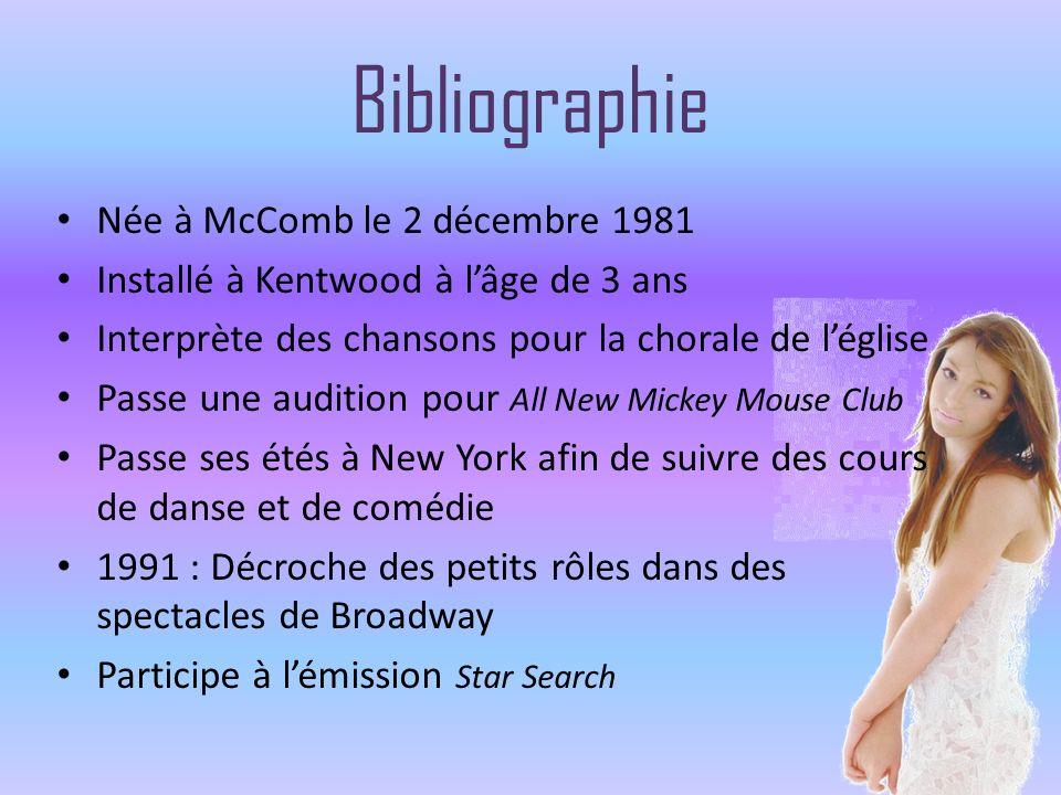 Bibliographie Née à McComb le 2 décembre 1981 Installé à Kentwood à lâge de 3 ans Interprète des chansons pour la chorale de léglise Passe une auditio