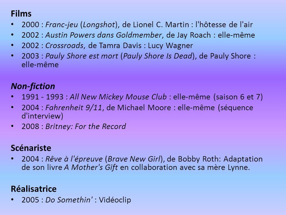 Films 2000 : Franc-jeu (Longshot), de Lionel C. Martin : l'hôtesse de l'air 2002 : Austin Powers dans Goldmember, de Jay Roach : elle-même 2002 : Cros