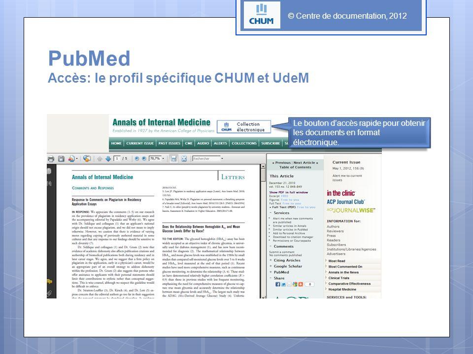 © Centre de documentation, 2012 Le bouton daccès rapide pour obtenir les documents en format électronique. PubMed Accès: le profil spécifique CHUM et