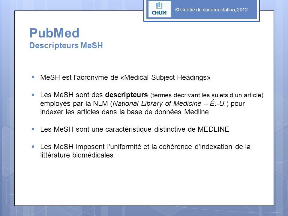 PubMed Descripteurs MeSH MeSH est l acronyme de «Medical Subject Headings» Les MeSH sont des descripteurs (termes décrivant les sujets dun article) employés par la NLM (National Library of Medicine – É.-U.) pour indexer les articles dans la base de données Medline Les MeSH sont une caractéristique distinctive de MEDLINE Les MeSH imposent l uniformité et la cohérence dindexation de la littérature biomédicales