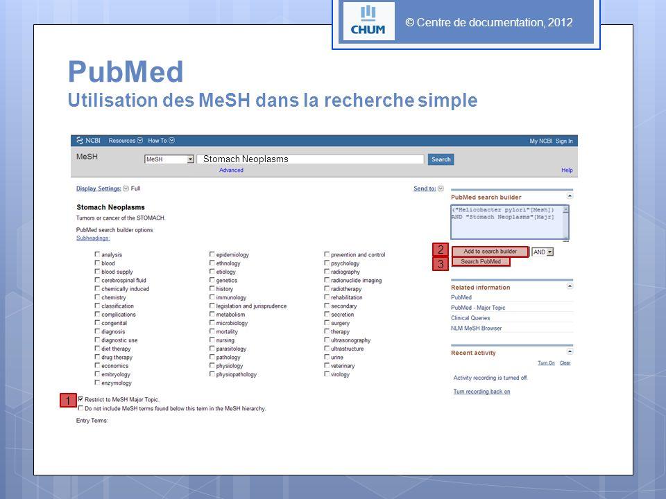 © Centre de documentation, 2012 PubMed Utilisation des MeSH dans la recherche simple 1 2 3 Stomach Neoplasms