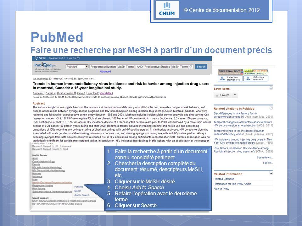 © Centre de documentation, 2012 PubMed Faire une recherche par MeSH à partir dun document précis 1.Faire la recherche à partir dun document connu, con