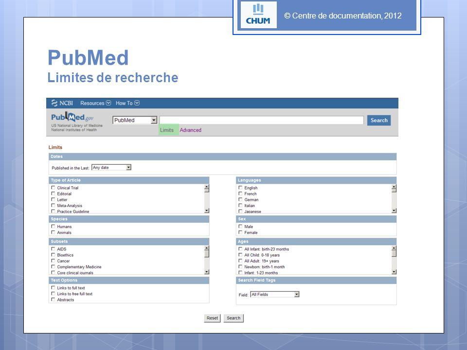 PubMed Limites de recherche
