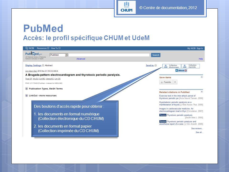PubMed Accès: le profil spécifique CHUM et UdeM © Centre de documentation, 2012 Des boutons daccès rapide pour obtenir : 1. les documents en format nu