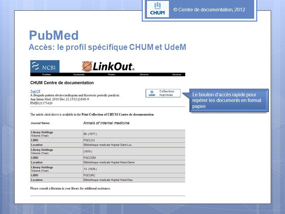© Centre de documentation, 2012 PubMed Accès: le profil spécifique CHUM et UdeM Le bouton daccès rapide pour repérer les documents en format papier.