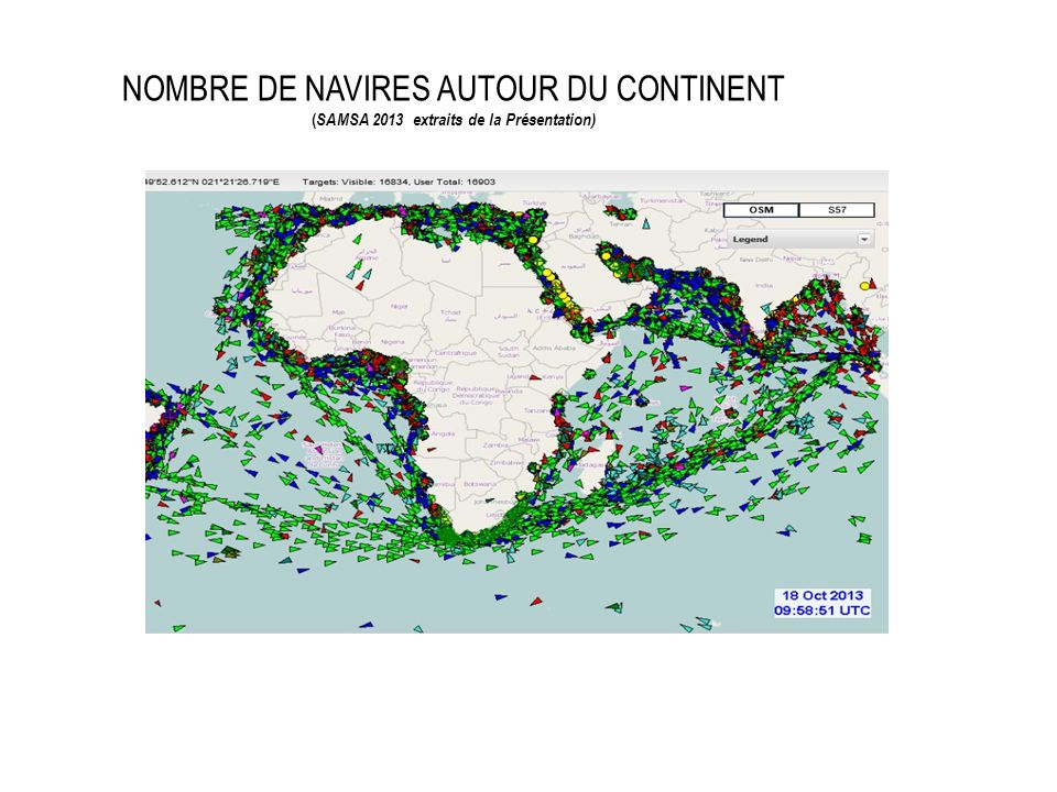 NOMBRE DE NAVIRES AUTOUR DU CONTINENT ( SAMSA 2013 extraits de la Présentation)