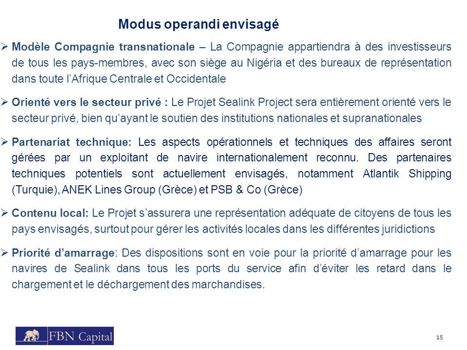 Modus operandi envisagé 15 Modèle Compagnie transnationale – La Compagnie appartiendra à des investisseurs de tous les pays-membres, avec son siège au
