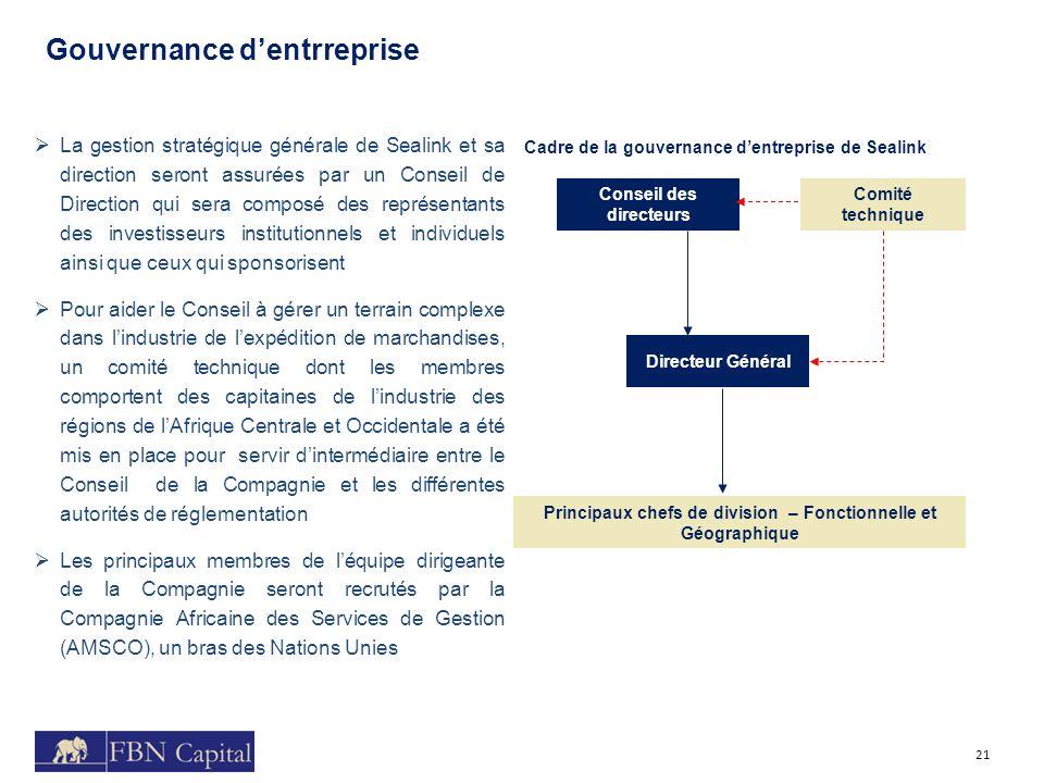 Route 3 La gestion stratégique générale de Sealink et sa direction seront assurées par un Conseil de Direction qui sera composé des représentants des
