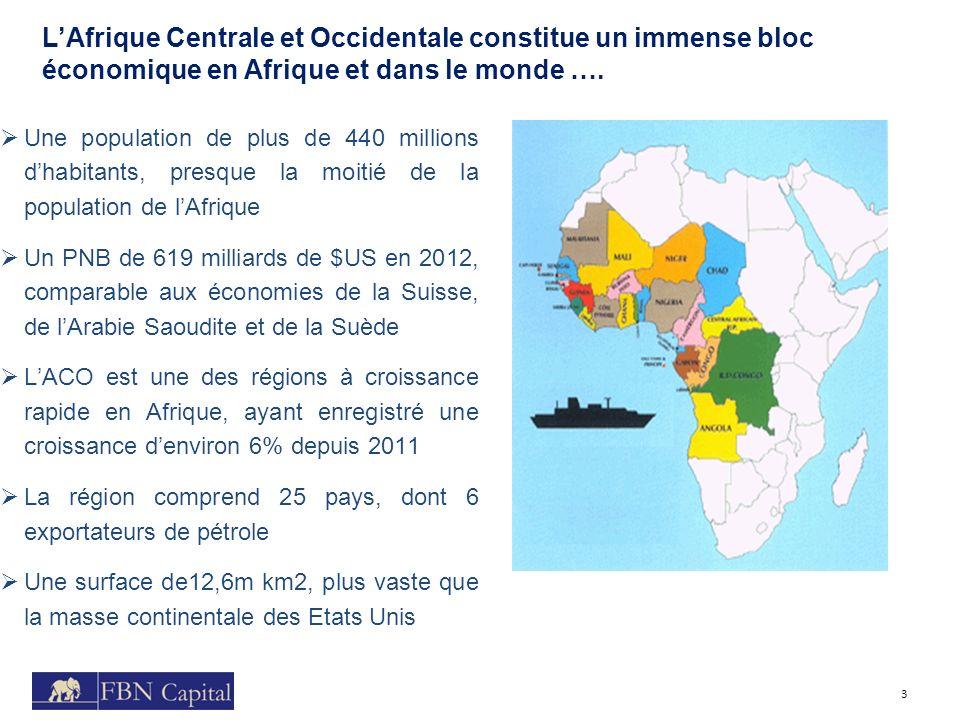 LAfrique Centrale et Occidentale constitue un immense bloc économique en Afrique et dans le monde …. 3 Une population de plus de 440 millions dhabitan