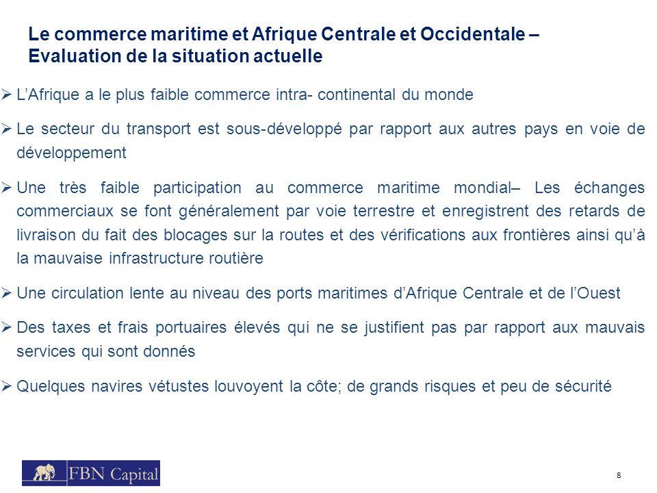 Le commerce maritime et Afrique Centrale et Occidentale – Evaluation de la situation actuelle 8 LAfrique a le plus faible commerce intra- continental