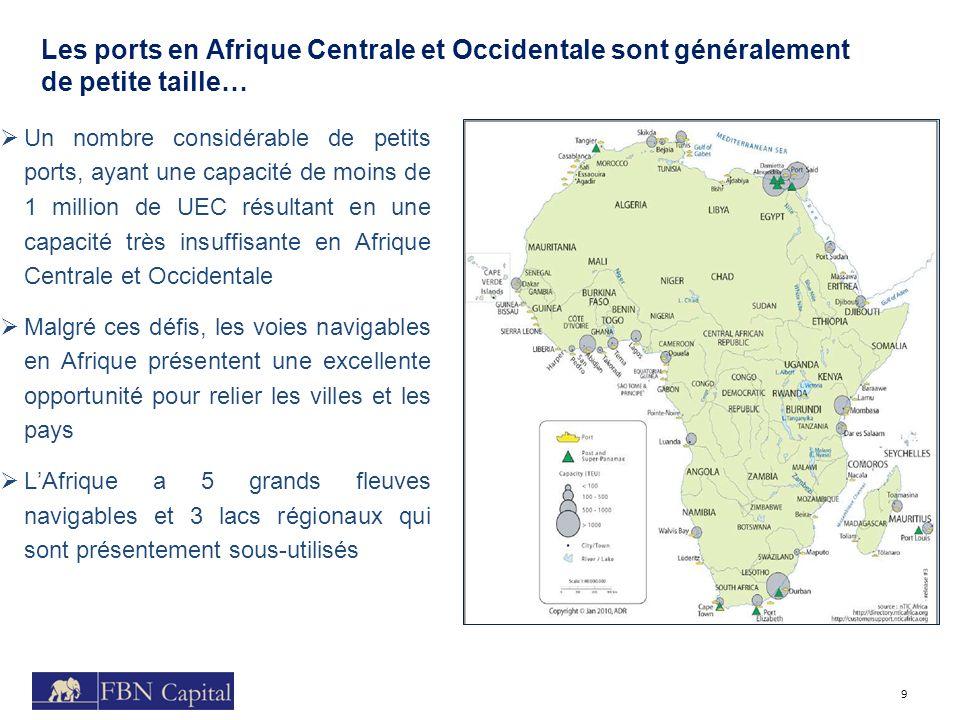Les ports en Afrique Centrale et Occidentale sont généralement de petite taille… 9 Un nombre considérable de petits ports, ayant une capacité de moins