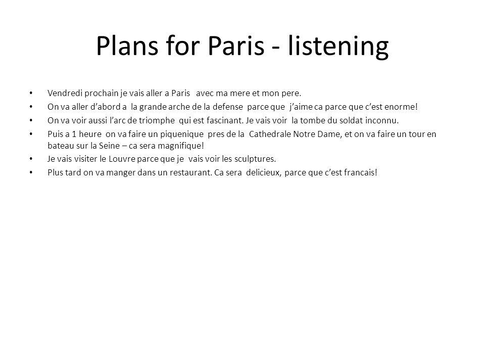 Plans for Paris - listening Vendredi prochain je vais aller a Paris avec ma mere et mon pere. On va aller dabord a la grande arche de la defense parce