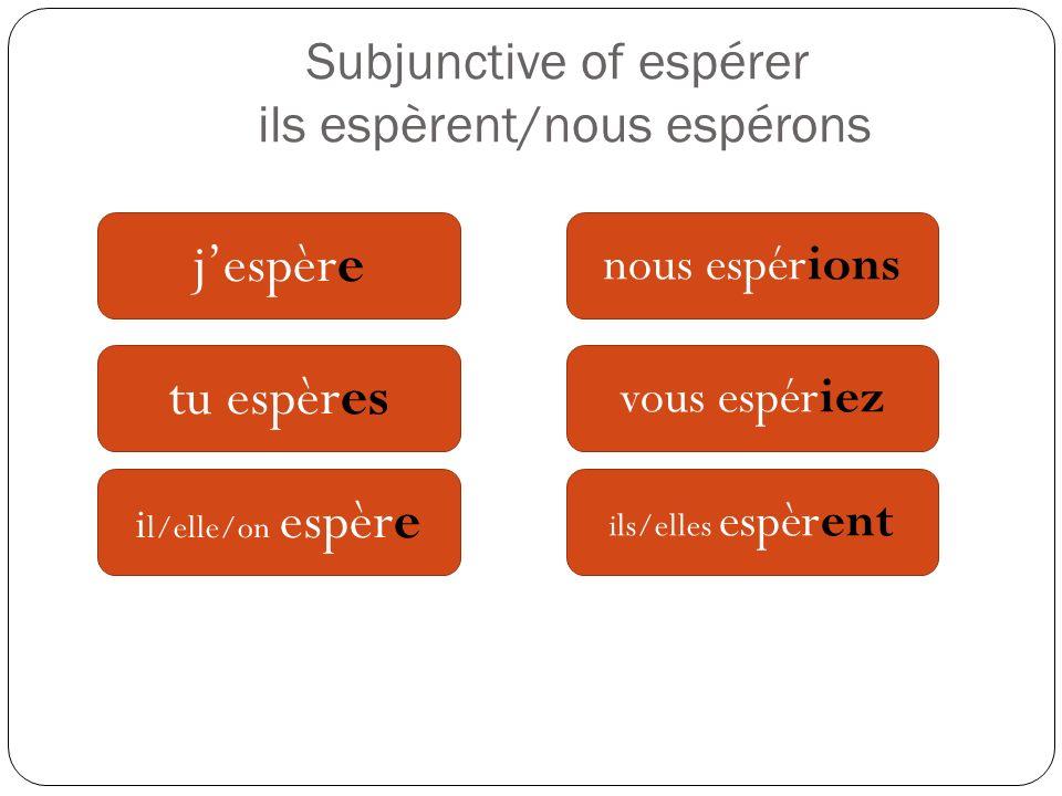 Subjunctive of espérer ils espèrent/nous espérons jespère tu espères i l/elle/on espère nous espérions vous espériez ils/elles espèrent