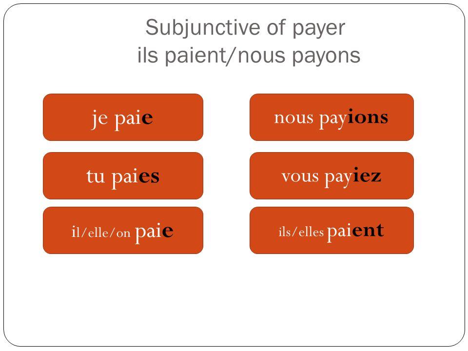 Subjunctive of payer ils paient/nous payons je paie tu paies i l/elle/on paie nous payions vous payiez ils/elles paient