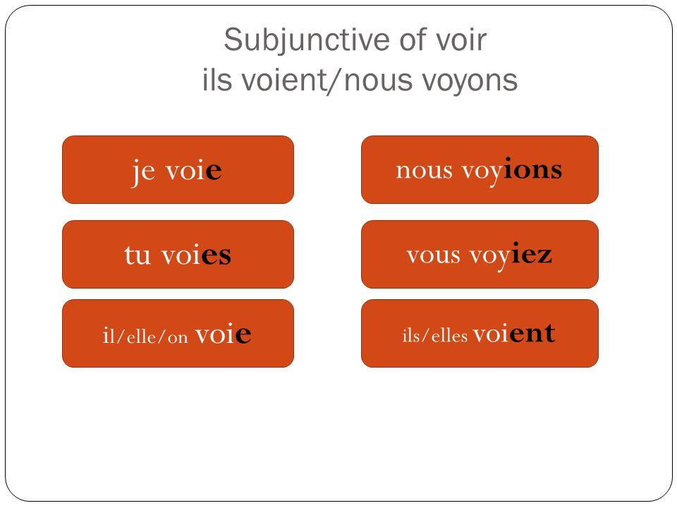 Subjunctive of voir ils voient/nous voyons je voie tu voies i l/elle/on voie nous voyions vous voyiez ils/elles voient