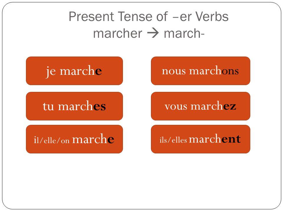 Present Tense of –er Verbs marcher march- je marche tu marches i l/elle/on marche nous marchons vous marchez ils/elles marchent
