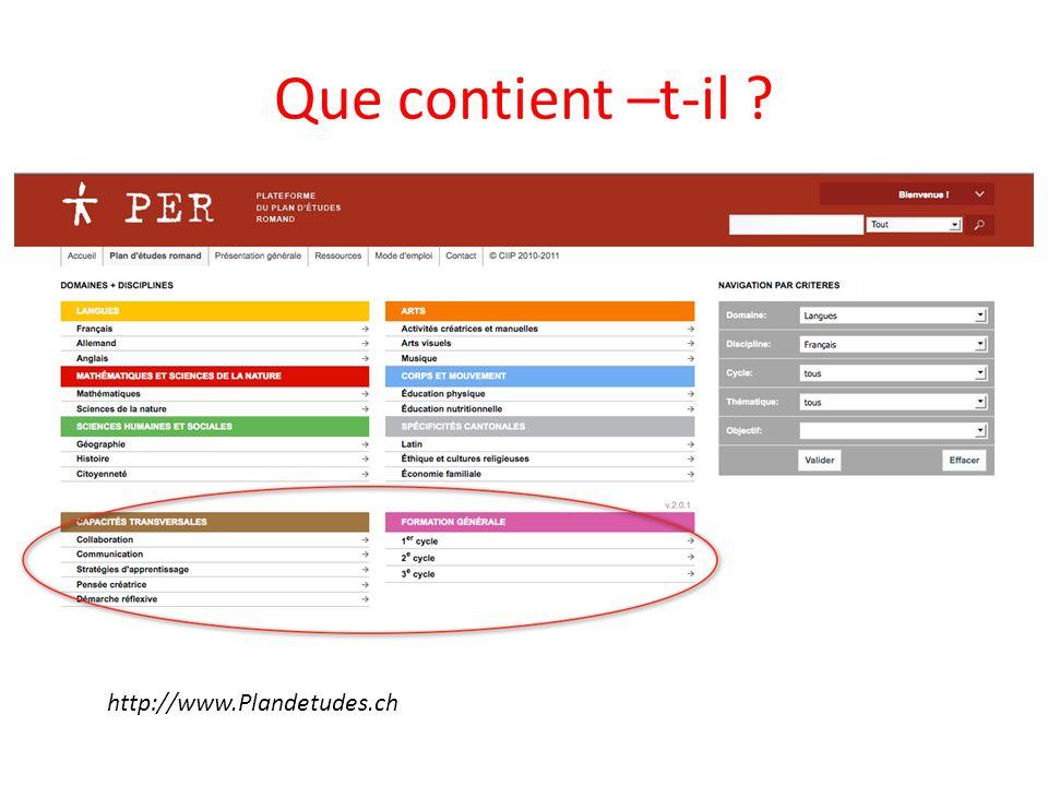 Que contient –t-il http://www.Plandetudes.ch