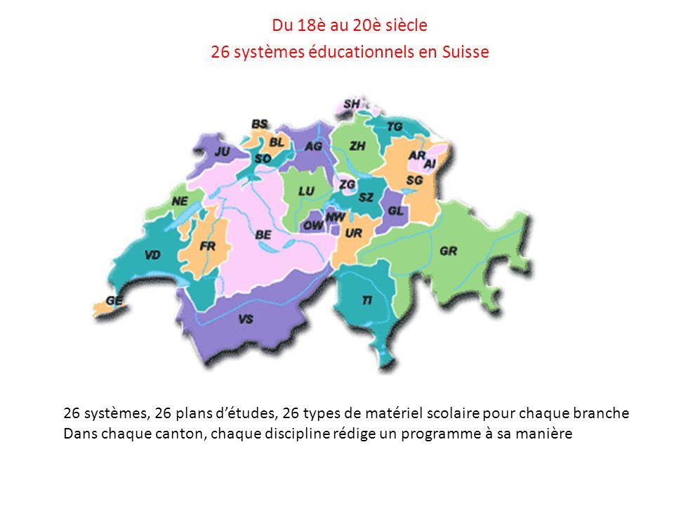 Du 18è au 20è siècle 26 systèmes éducationnels en Suisse 26 systèmes, 26 plans détudes, 26 types de matériel scolaire pour chaque branche Dans chaque canton, chaque discipline rédige un programme à sa manière