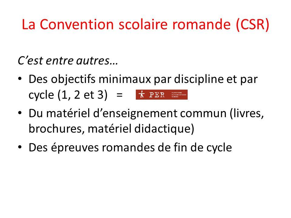 La Convention scolaire romande (CSR) Cest entre autres… Des objectifs minimaux par discipline et par cycle (1, 2 et 3) = Du matériel denseignement commun (livres, brochures, matériel didactique) Des épreuves romandes de fin de cycle