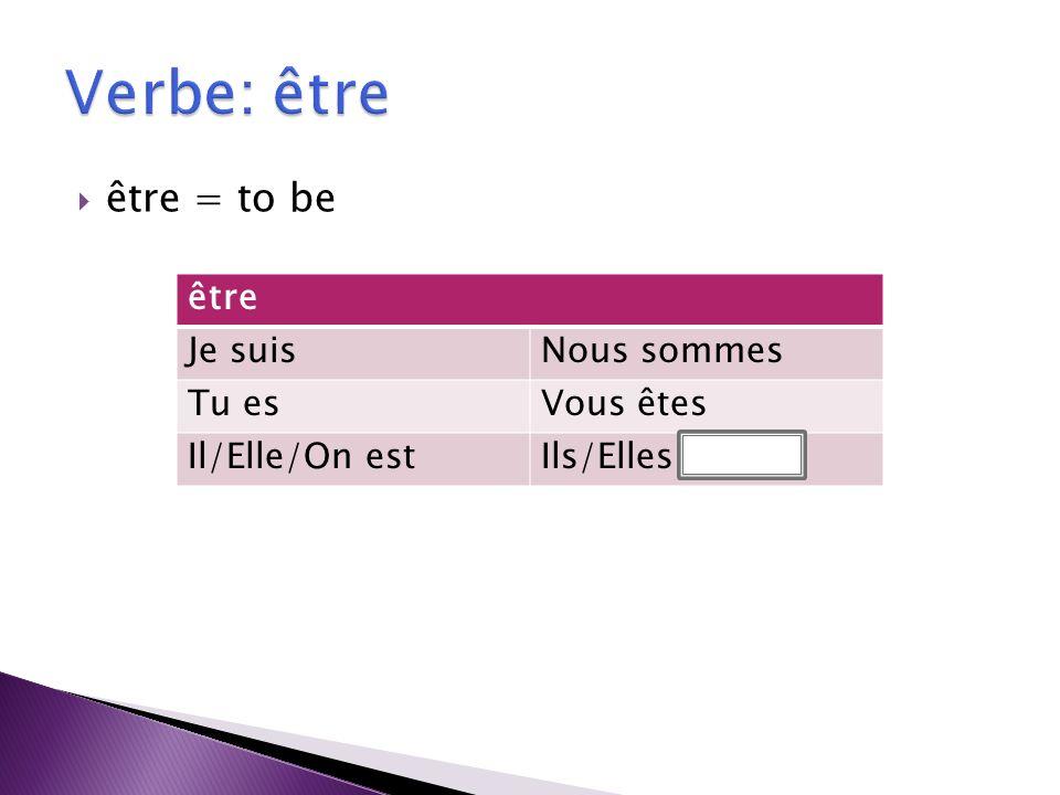 être = to be être Je suisNous sommes Tu esVous êtes Il/Elle/On estIls/Elles sont