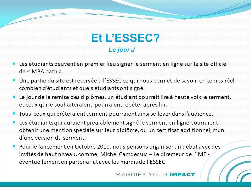 Et LESSEC? Les étudiants peuvent en premier lieu signer le serment en ligne sur le site officiel de « MBA oath ». Une partie du site est réservée à lE