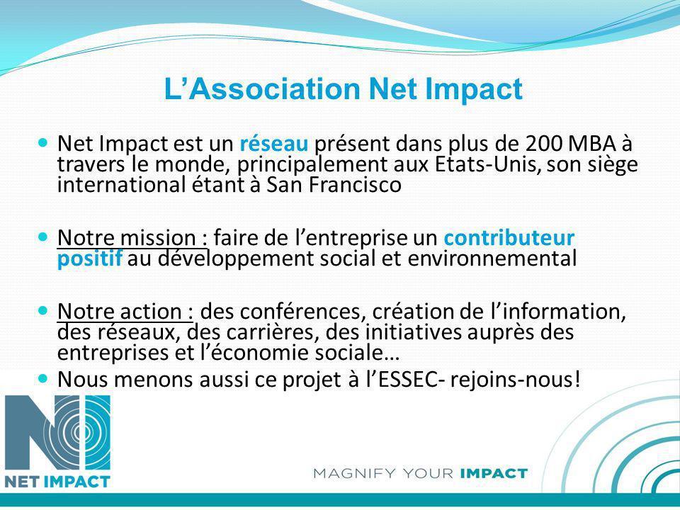 LAssociation Net Impact Net Impact est un réseau présent dans plus de 200 MBA à travers le monde, principalement aux Etats-Unis, son siège internation