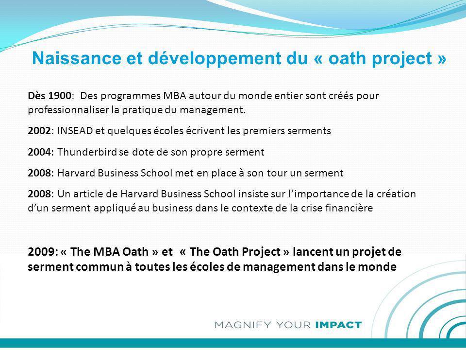 Naissance et développement du « oath project » Dès 1900: Des programmes MBA autour du monde entier sont créés pour professionnaliser la pratique du ma