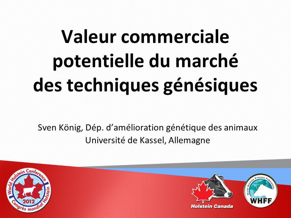 Valeur commerciale potentielle du marché des techniques génésiques Sven König, Dép.