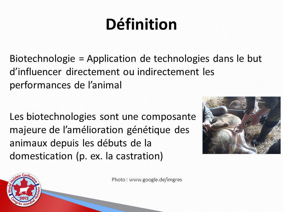Définition Biotechnologie = Application de technologies dans le but dinfluencer directement ou indirectement les performances de lanimal Les biotechnologies sont une composante majeure de lamélioration génétique des animaux depuis les débuts de la domestication (p.