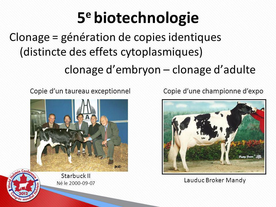 5 e biotechnologie Clonage = génération de copies identiques (distincte des effets cytoplasmiques) clonage dembryon – clonage dadulte Starbuck II Né le 2000-09-07 Copie dun taureau exceptionnelCopie dune championne dexpo Lauduc Broker Mandy