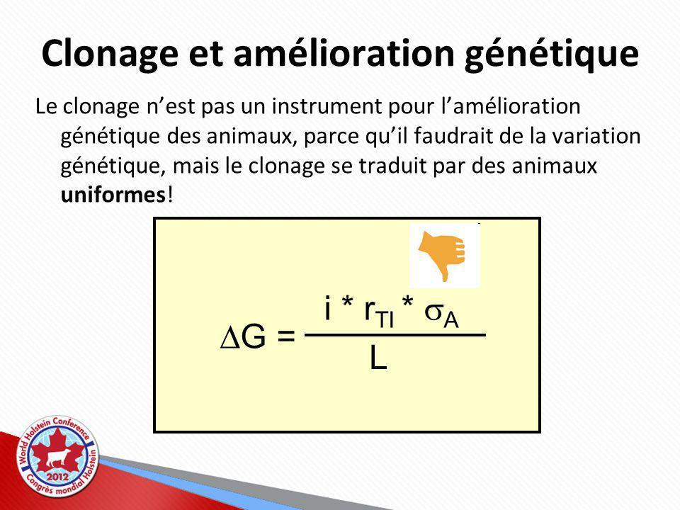 Clonage et amélioration génétique G = i * r TI * A L Le clonage nest pas un instrument pour lamélioration génétique des animaux, parce quil faudrait de la variation génétique, mais le clonage se traduit par des animaux uniformes!