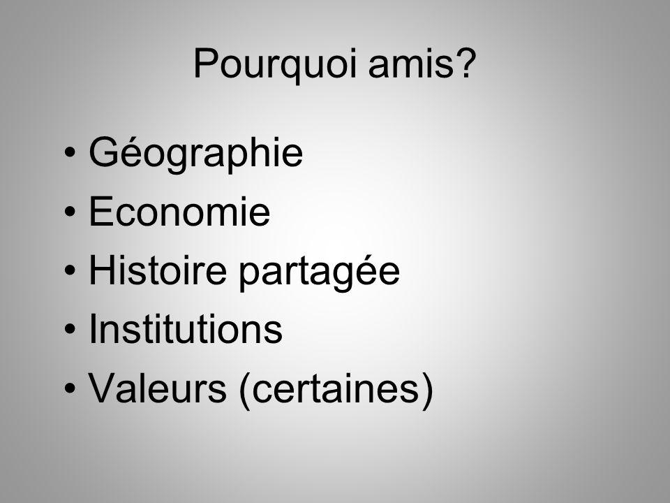 Pourquoi amis? Géographie Economie Histoire partagée Institutions Valeurs (certaines)