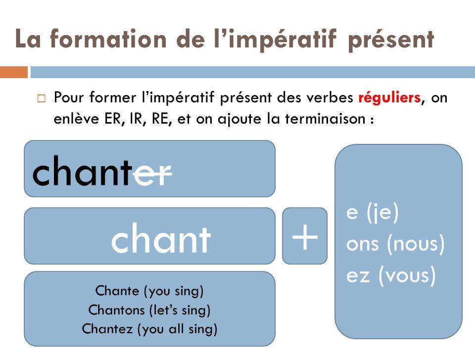 Les exceptions: Être (to be) sois soyons soyez Avoir (to have) aie ayons ayez Aller (to go) va allons allez Faire (to do) fais faisons faites Dire (to say) dis disons dites Écrire (to write) écris écrivons écrivez Lire (to read) lis lisons lisez Mettre (to put) mets mettons mettez Boire (to drink) bois buvons buvez Voir (to see) vois voyons voyez Suivre (to follow) suis suivons suivez Savoir (to know) sache sachons sachez Venir (to come) viens venons venez Sortir (to go out) sors sortons sortez Prendre (to take) prends prenons prenez Vouloir (to want) veuille veuillons veuillez