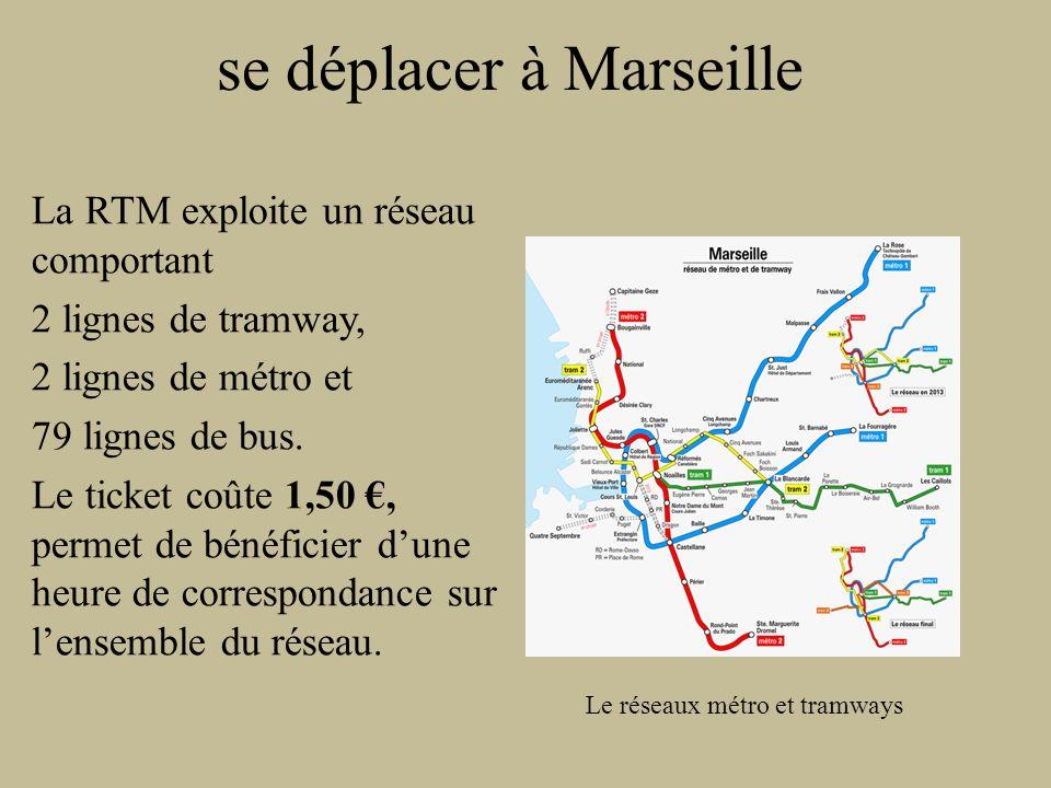se déplacer à Marseille La RTM exploite un réseau comportant 2 lignes de tramway, 2 lignes de métro et 79 lignes de bus. Le ticket coûte 1,50, permet