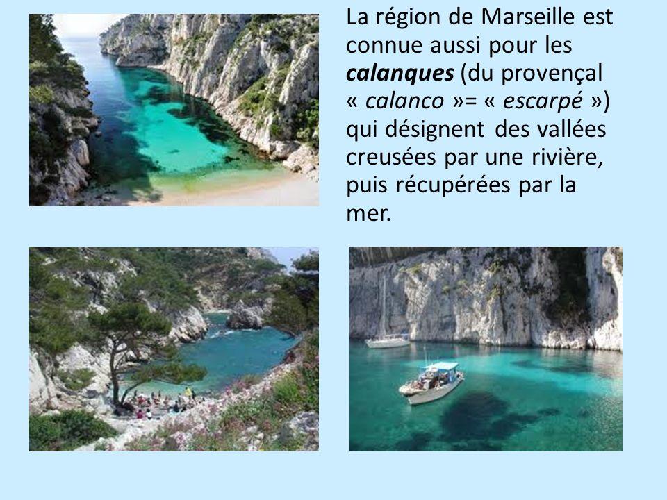 La région de Marseille est connue aussi pour les calanques (du provençal « calanco »= « escarpé ») qui désignent des vallées creusées par une rivière,