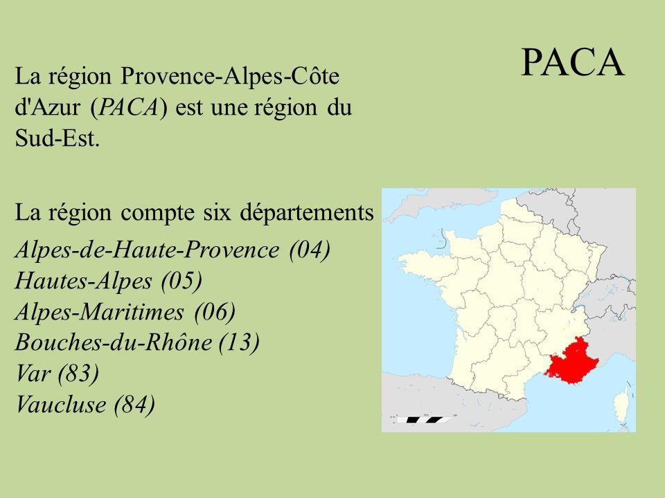 PACA La région Provence-Alpes-Côte d'Azur (PACA) est une région du Sud-Est. La région compte six départements Alpes-de-Haute-Provence (04) Hautes-Alpe