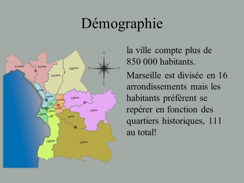 Démographie la ville compte plus de 850 000 habitants. Marseille est divisée en 16 arrondissements mais les habitants préfèrent se repérer en fonction