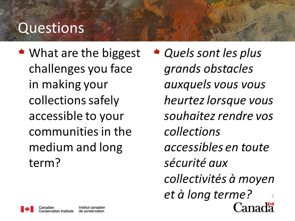 Questions What are the biggest challenges you face in making your collections safely accessible to your communities in the medium and long term.