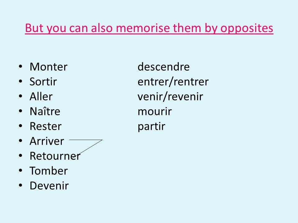 But you can also memorise them by opposites Monterdescendre Sortirentrer/rentrer Allervenir/revenir Naîtremourir Resterpartir Arriver Retourner Tomber