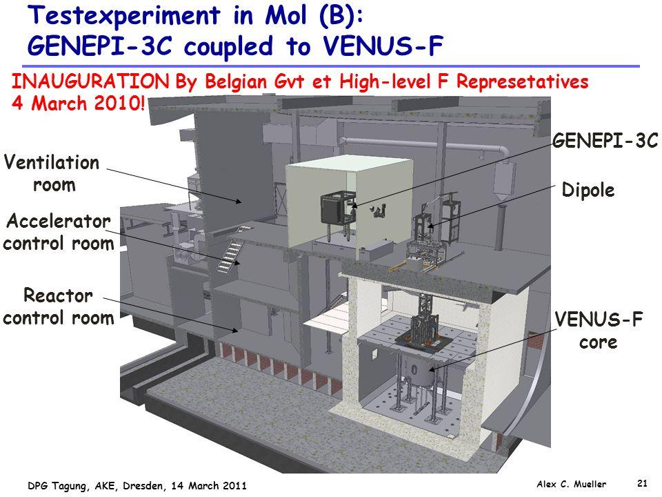 21 DPG Tagung, AKE, Dresden, 14 March 2011 Testexperiment in Mol (B): GENEPI-3C coupled to VENUS-F GENEPI-3C Dipole VENUS-F core Accelerator control room Reactor control room Ventilation room Alex C.