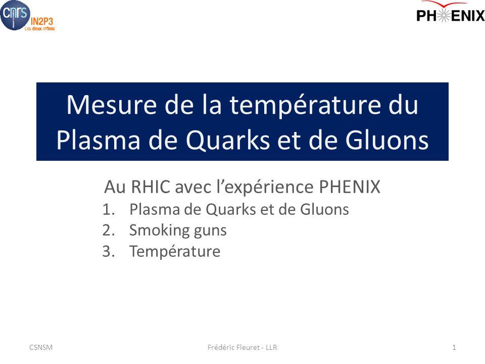 Mesure de la température du Plasma de Quarks et de Gluons Au RHIC avec lexpérience PHENIX 1.Plasma de Quarks et de Gluons 2.Smoking guns 3.Température Frédéric Fleuret - LLR1CSNSM